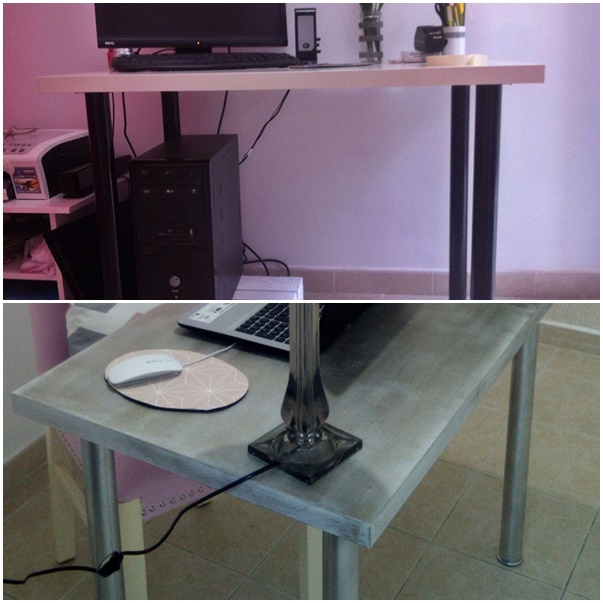 Antes y después de la mesa de ordenador