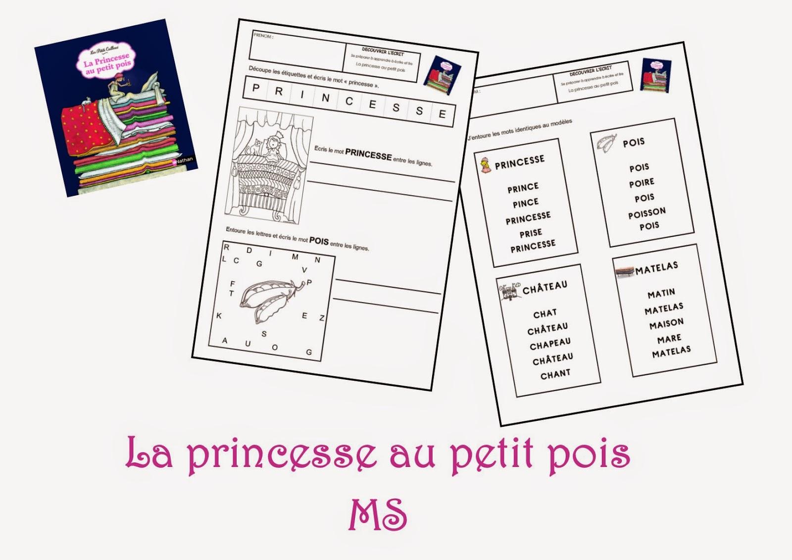 Fiches de travail MS - La princesse au petit pois