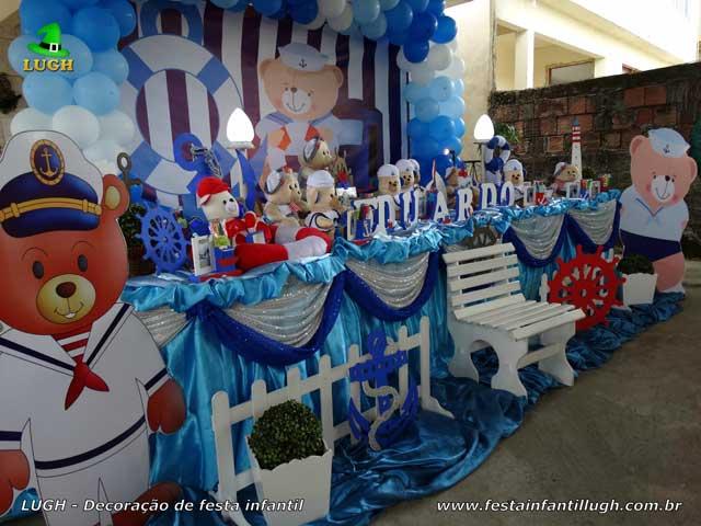 Tema Ursinho Marinheiro - Decoração tradicional com toalhas de tecido em cetim para Chá de Bebê