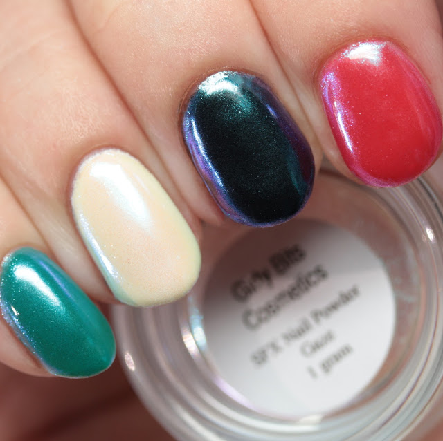 Girly Bits SFX Duo-Chrome Powder Gaze over colored gel