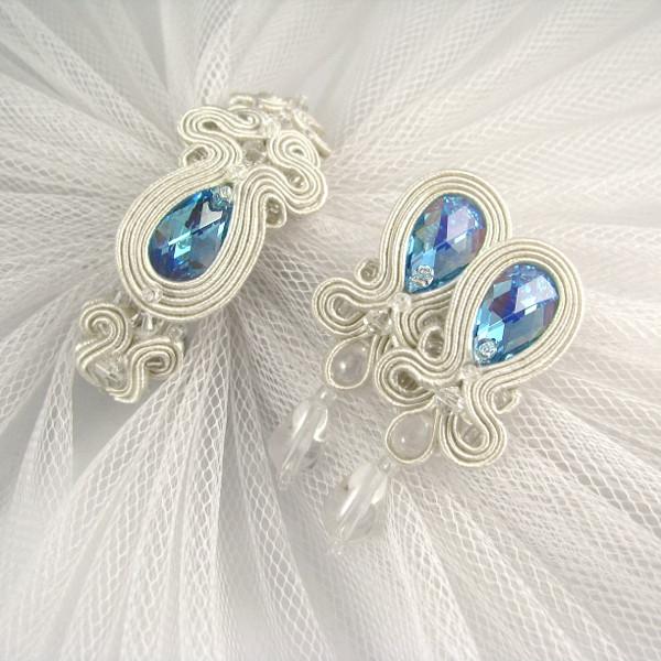 Delikatny komplet ślubny sutasz ivory i serenity blue