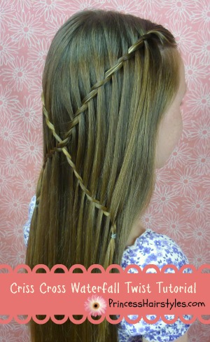 criss cross waterfall twist hairstyle