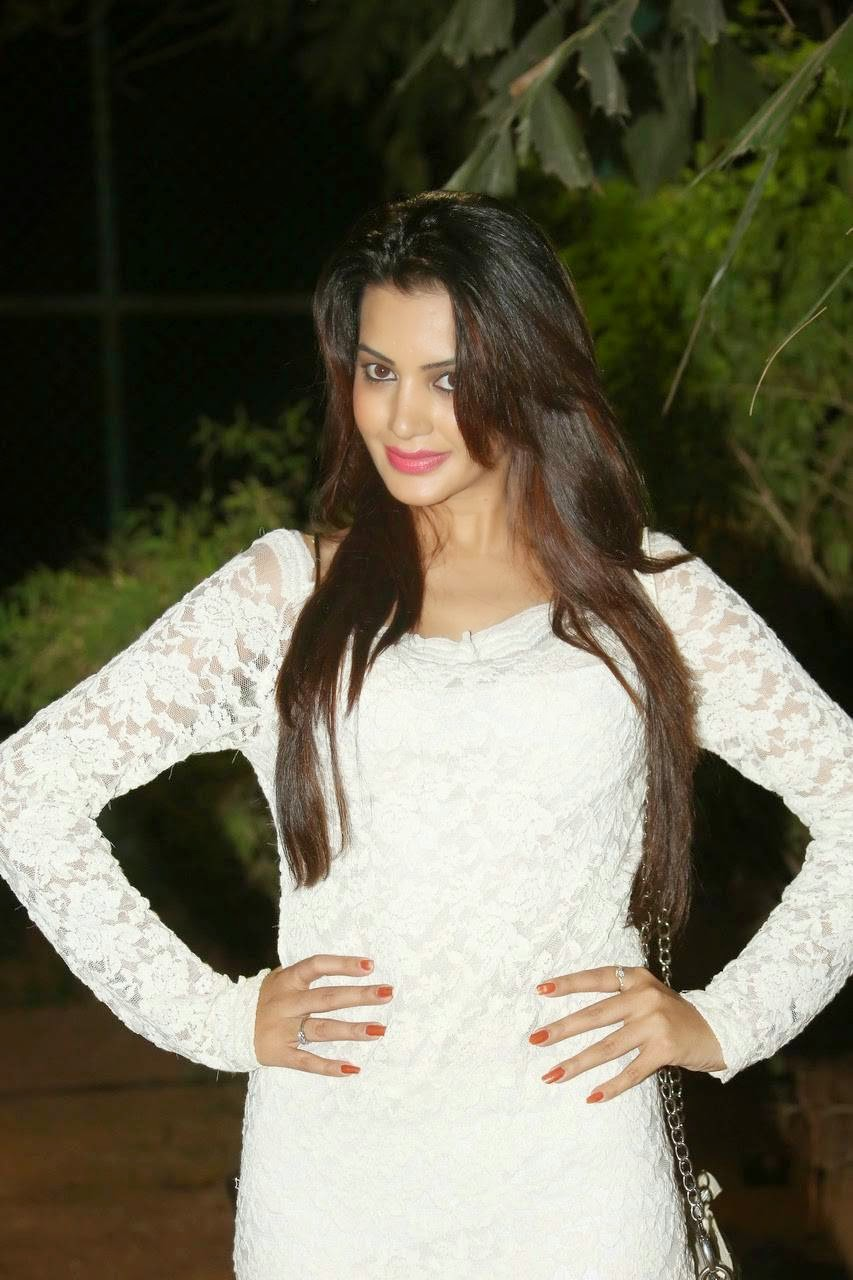 Diksha Panth, Actress Diksha Panth Crossleg Sitting Pics in White Dress from Event