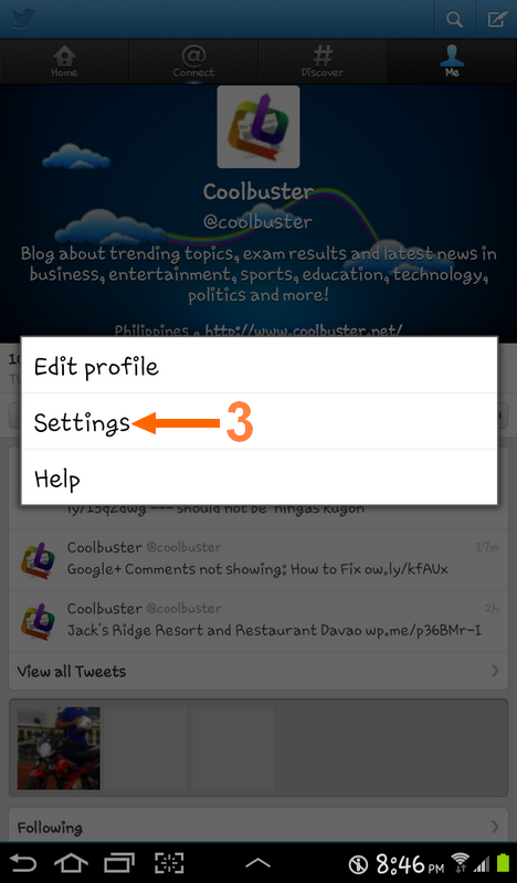 How to sign out of Twitter on Samsung Galaxy Tab step 3