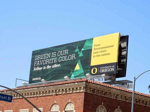 Green favorite color Oregon University billboard