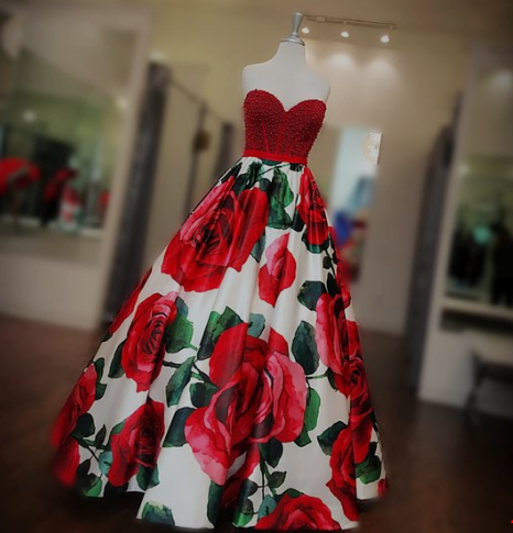 Red-Rose-Printed-Gorgeous-Prom-dress