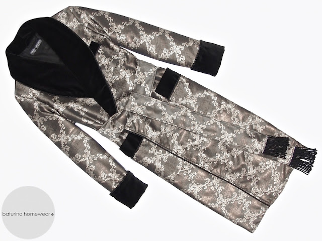 Englischer Herren Hausmantel lang warm gefüttert edel exklusiv Morgenmantel Luxus Morgenrock elegant Herren Seide Samt Dressing Gown Männer