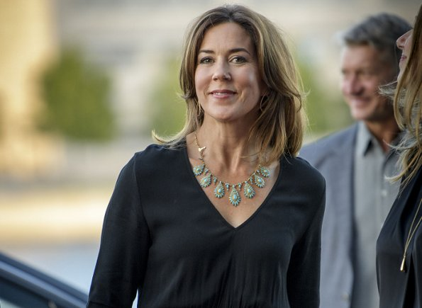 Princess Mary attended the opening of Copenhagen TV Festival. Princess Mary jewellry Necklace in Turquoise