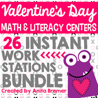 Valentine's Day math and literacy center activities for Kindergarten & First Grade!