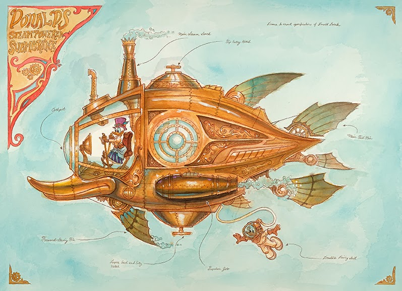 Donald Duck Steampowered Submarine Mechanical Kingdom walt disney world WDW Disneyland Steampunk