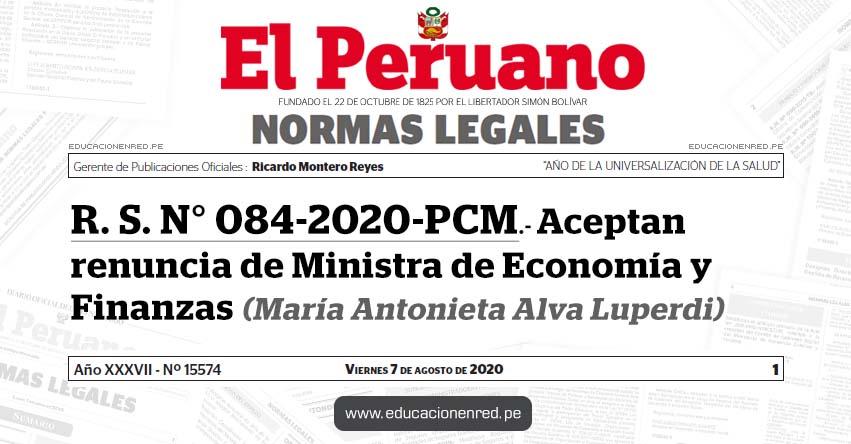 R. S. N° 084-2020-PCM.- Aceptan renuncia de Ministra de Economía y Finanzas (María Antonieta Alva Luperdi)