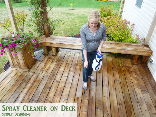 Spray Cleaner on Deck with Tank Sprayer | How to Stain a Deck | #deck #stain #diy | @SimplyDesigning