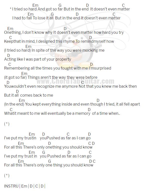 คอร์ดเพลง In The End - Linkin Park