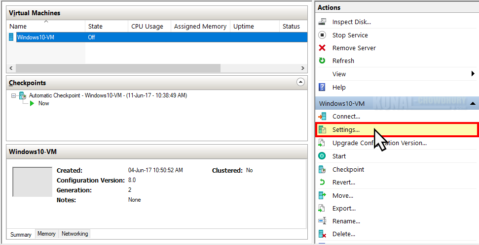 Open the Virtual Machine settings (www.kunal-chowdhury.com)