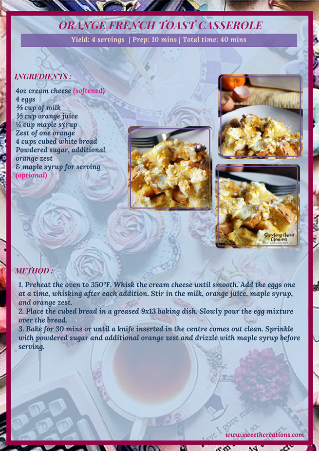 ORANGE FRENCH TOAST CASSEROLE RECIPE