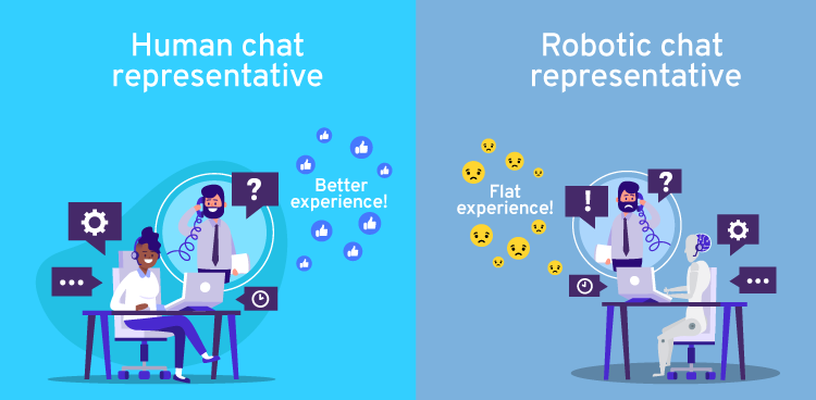 Human chat is better than robotic chat