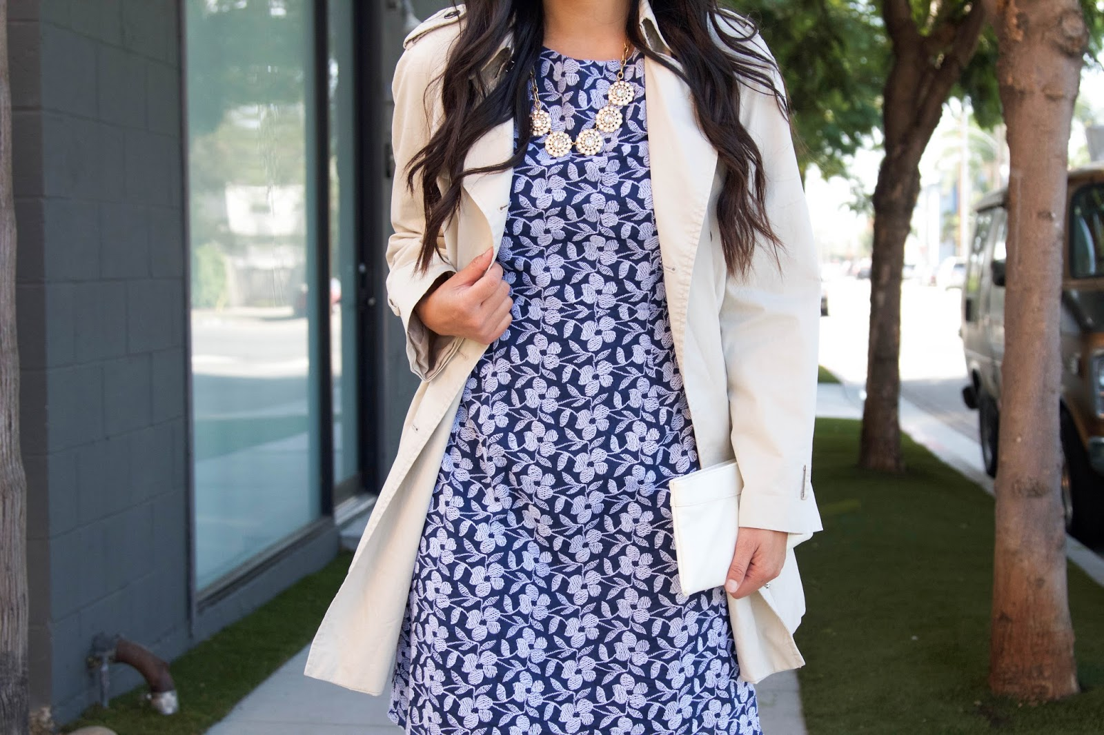 White Trench Coat + Statement Necklace + Blue Floral Dress