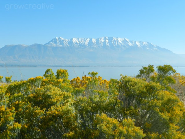 Sagebrush, mountains, and lake in yellow and blue: Grow Creative Blog