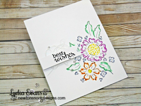 Best Wishes Floral Card by Lydia Evans | Fanciful Florals stamp set by Newton's Nook Designs #newtonsnook
