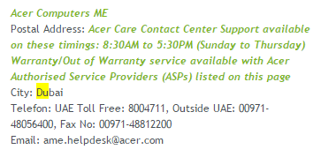 acer computers contcat number