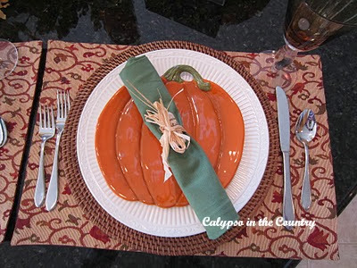 Halloween place setting with pumpkin plate