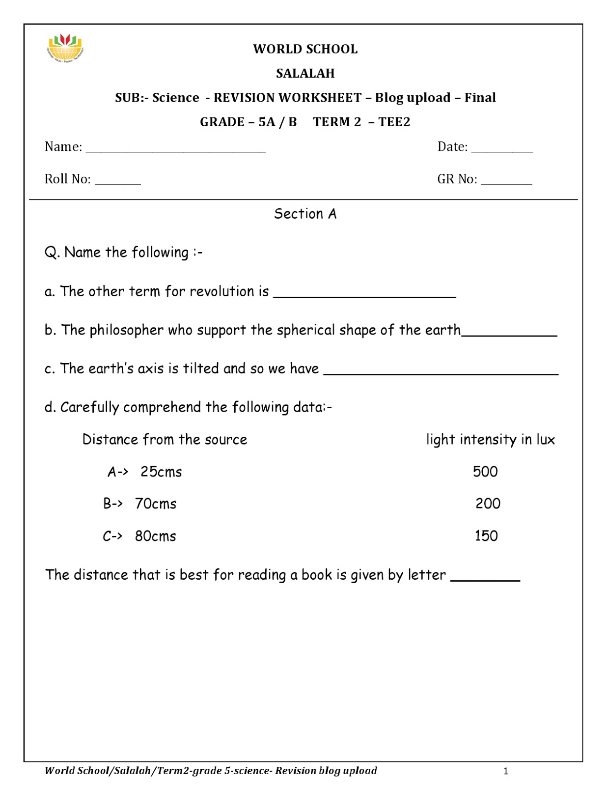 hight resolution of Revision Worksheets for Grade 5 as on 13-05-2019   WORLD SCHOOL OMAN