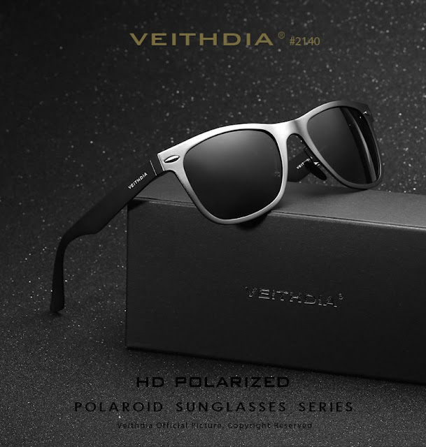 VEITHDIA Brand Aluminum Square Men's Polarized Mirror Sun Glasses