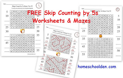 http://homeschoolden.com/2016/04/18/free-clock-printable-free-skip-counting-by-5s-activities/