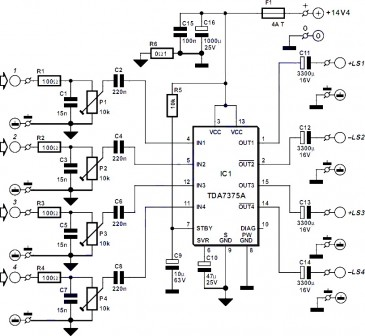 Schematic Circuit Electronics: 4 Channel Amplifier circuit on