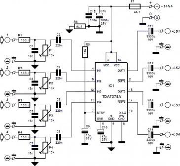 Schematic Circuit Electronics: 4 Channel Amplifier circuit