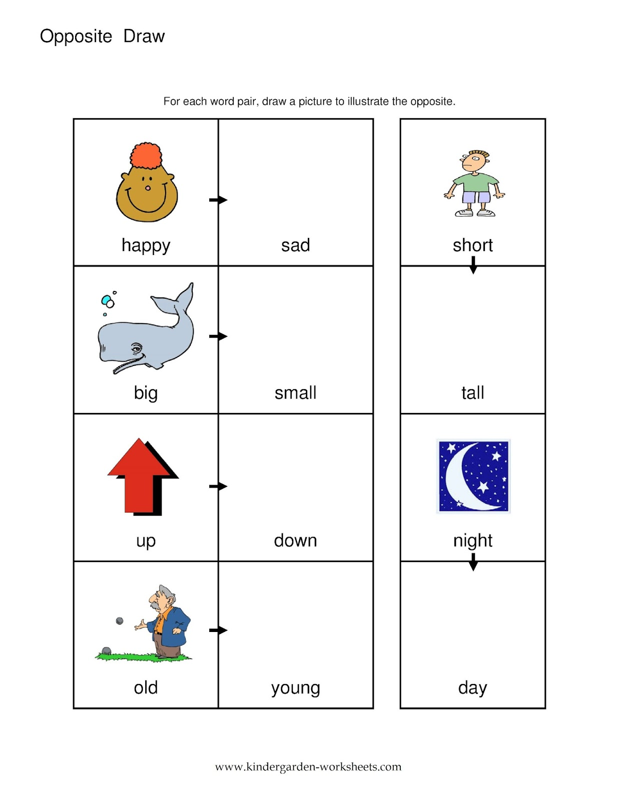 Kindergarten Worksheets: Kindergarten Worksheets- Opposite Words