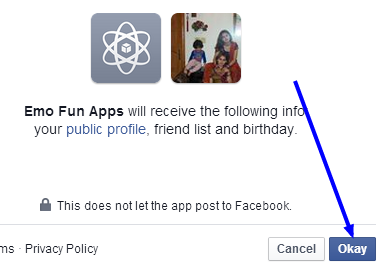 allow facebook profile info