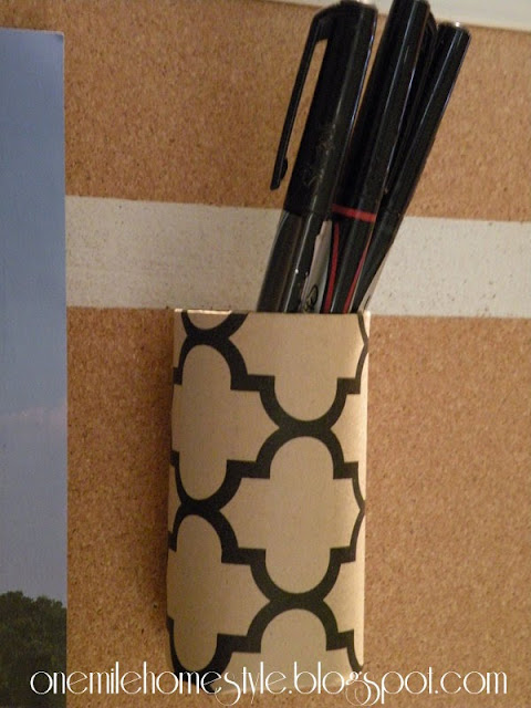 Create a pen holder with a toilet paper tube