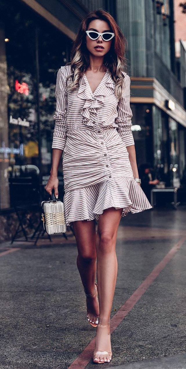 elegant outfit / striped dress + straw bag + heels
