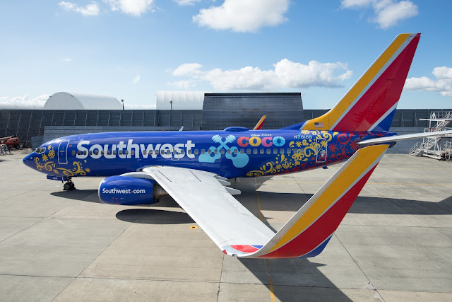 Southwest Airline decorated in Pixar Coco design