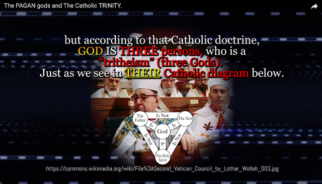 "but according to that Catholic doctrine, GOD IS THREE persons, who is a ""tritheism"" (three Gods). Just as we see in the Catholic diagram below."
