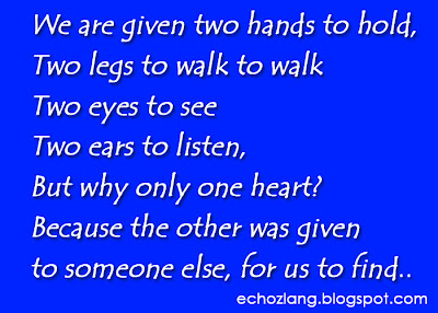 We are given 2 hands to hold, two legs to wall, two eyes to see