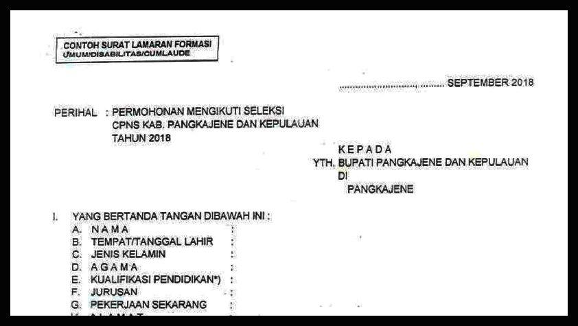 Lihat Disini Contoh Surat Permohonan Tes Cpns Umum Dan