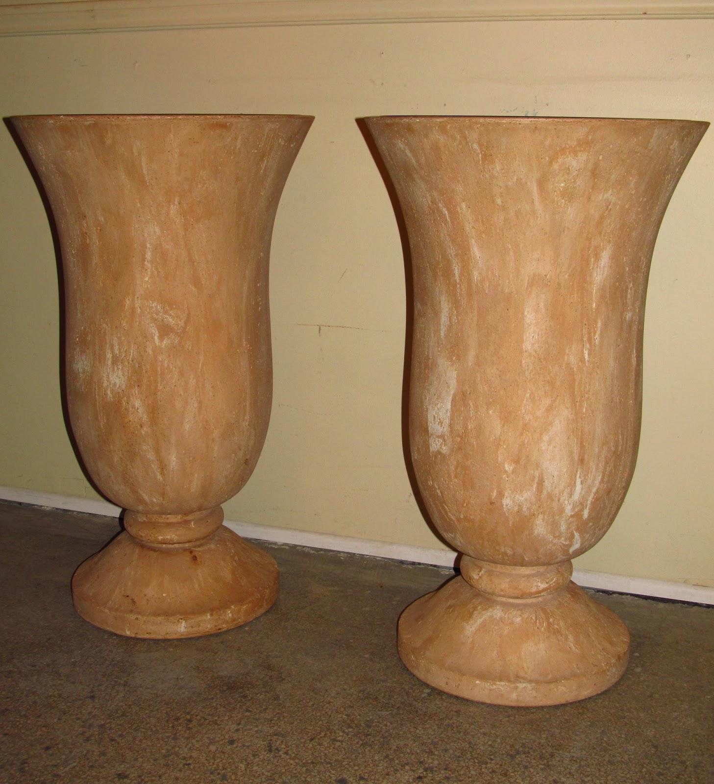 Era Antiques Vintage Pair Of Quality Faux Terracotta Urns