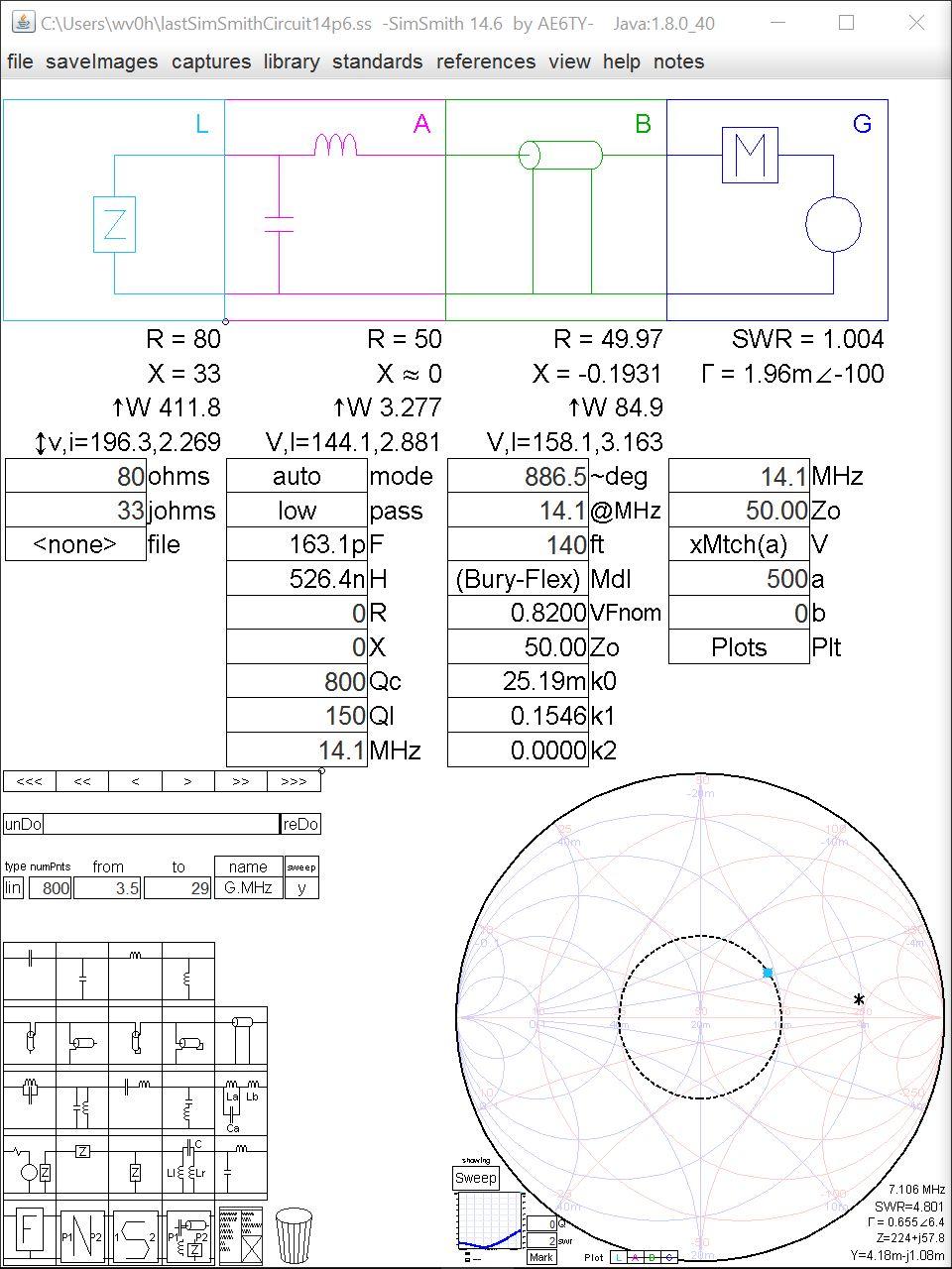 medium resolution of case 1b 2 1 high z 80 j33ohms tuner at antenna
