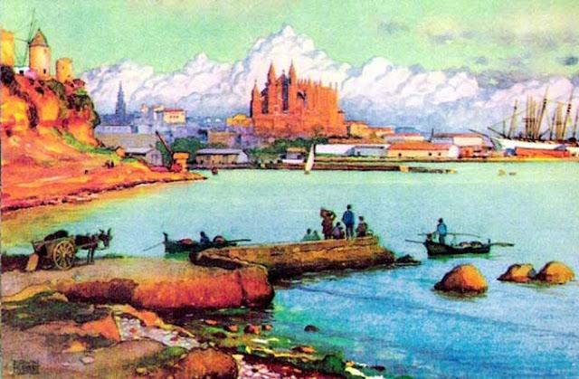 Erwin Hubert, Mallorca en Pintura, Cala San Vicente, Mallorca en Pintura, Paintirng of Cadaqués, Mallorca pintada, Paisajes de Mallorca, Palma de Mallorca desde Santa Catalina, Mallorca en Pintura