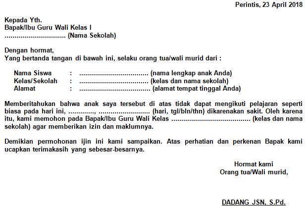 Contoh Surat Ijin Orang Tua Wali Murid Anak Tidak Bisa