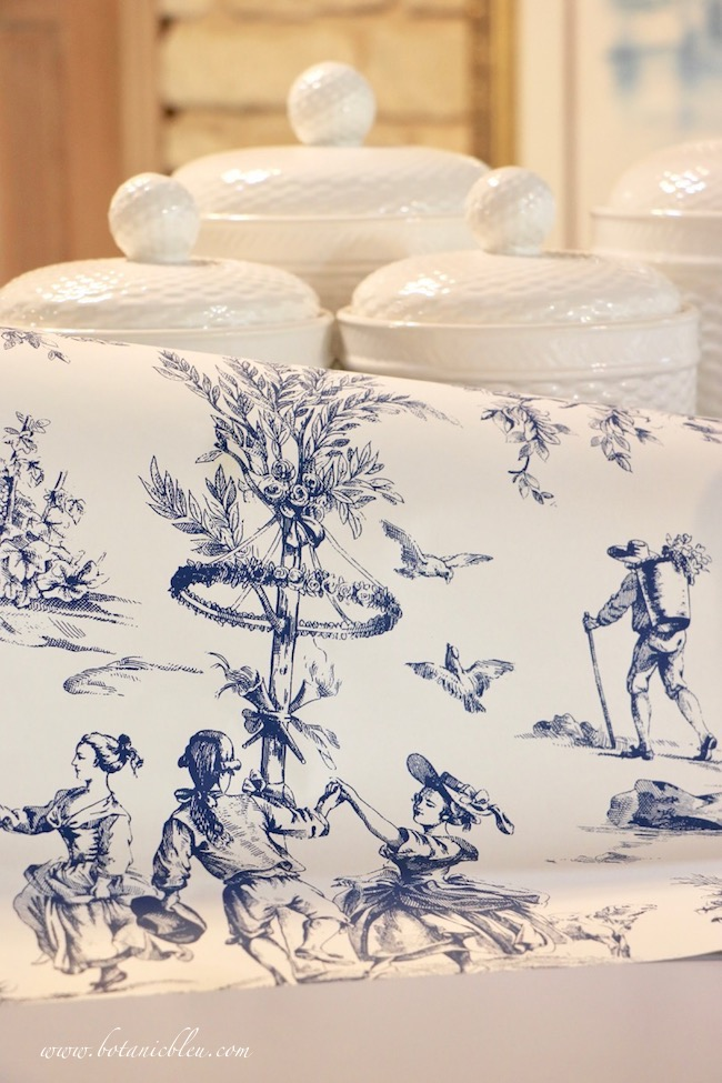 Pantry makeover plans for adding French Country toile wallpaper