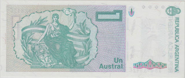 Argentina money currency 1 Austral banknote 1989