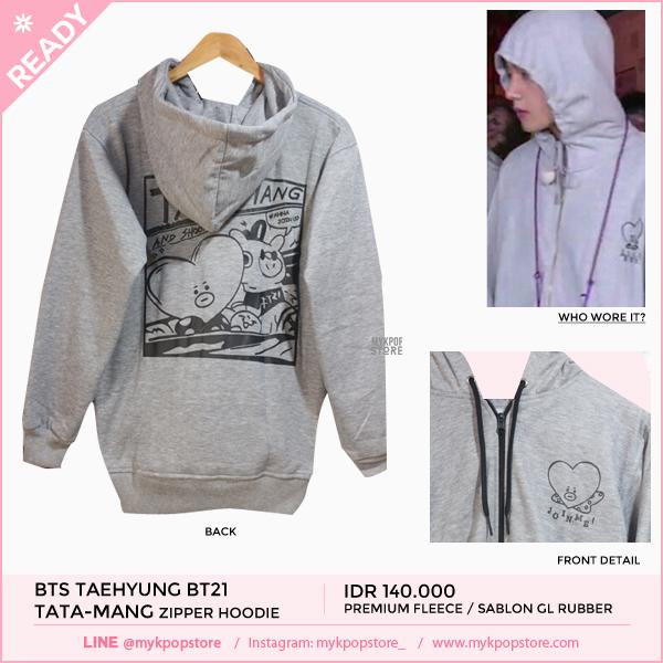 BTS Taehyung BT21 Tata-Mang Grey Hoodie