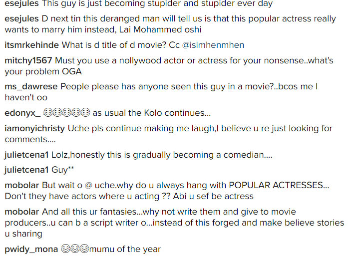 Please tell us the name of your movie: Social media roasts actor Uche Maduagwu