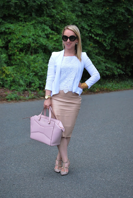 How to style blush tones, blush leather skirt