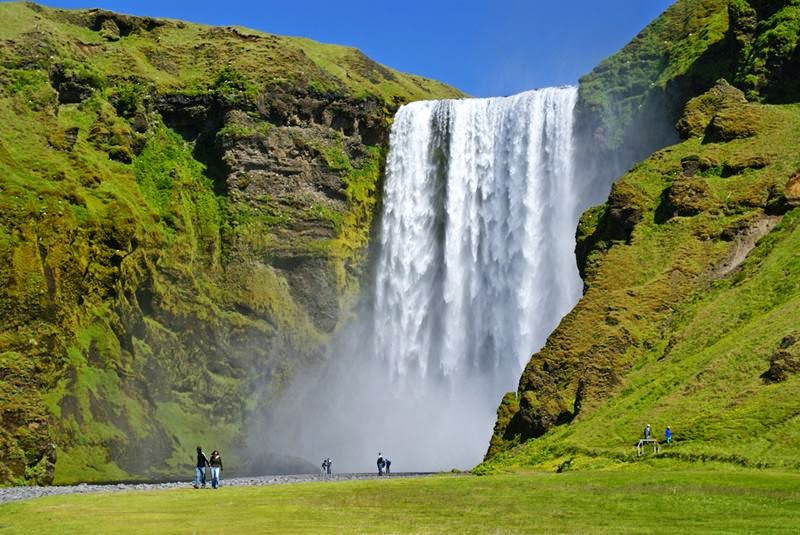 The most beautiful water of Iceland Skógafoss waterfall