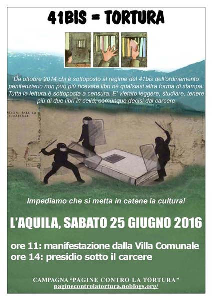"""Campagna """"Pagine contro la tortura"""": Il 25 giugno manifestazione  a L'Aquila"""