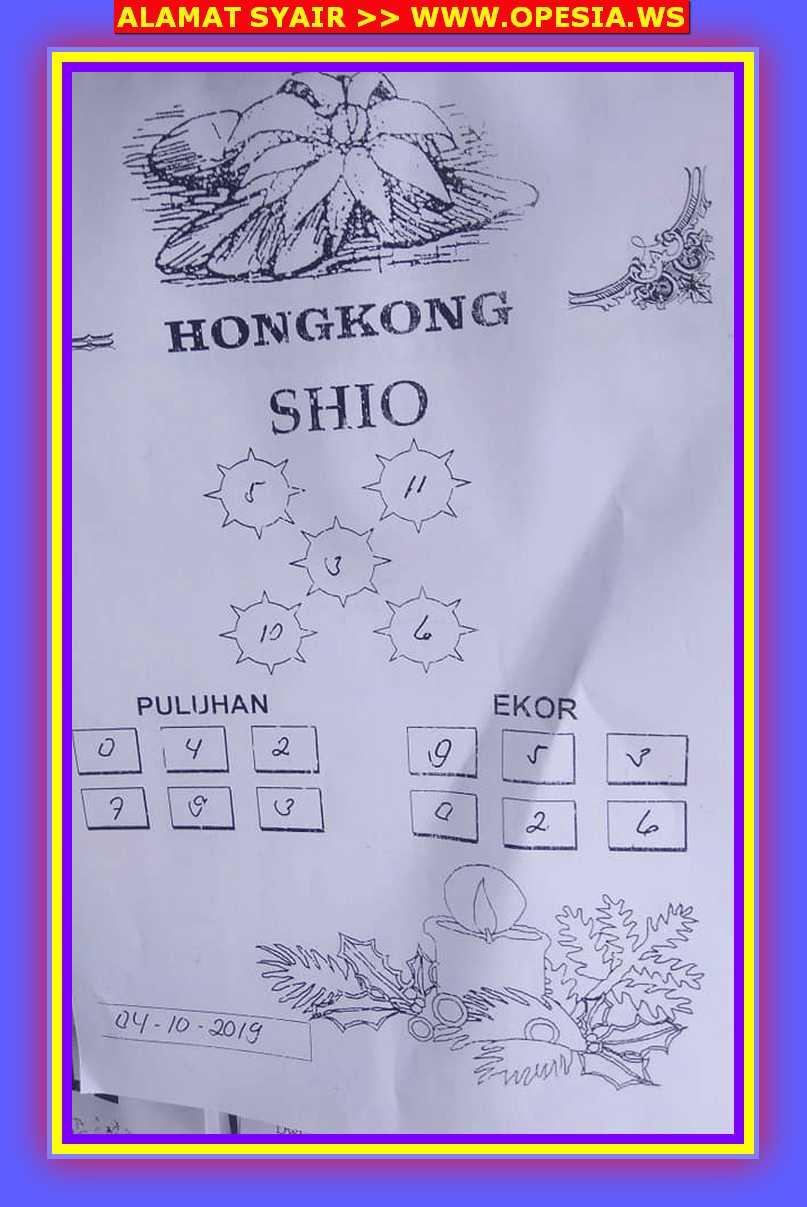 Kode syair Hongkong Jumat 4 Oktober 2019 37